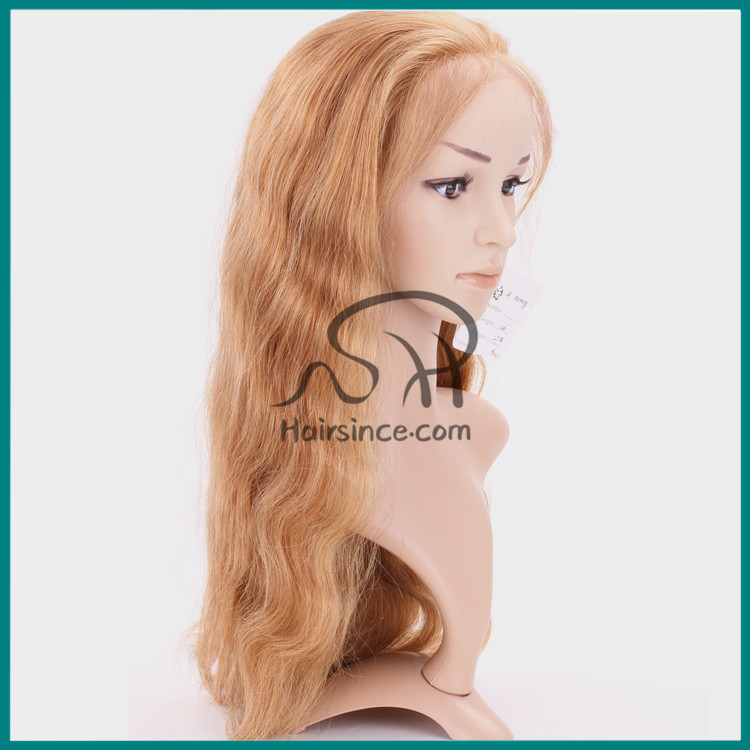 Body wave virgin European hair blonde #27 full lace wig 100% handmade lace wig glueless wig